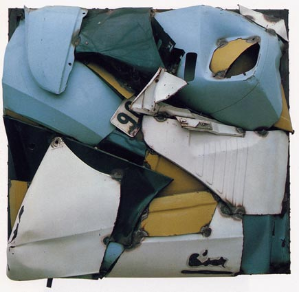 César, Relief tôle, 1961. Assemblage of pieces of automobile bodywork mounted on a frame.