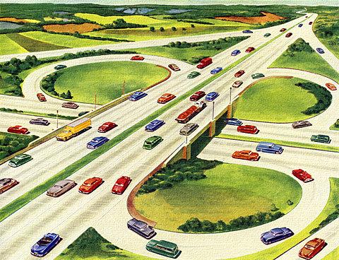 1950s expressway cloverleaf